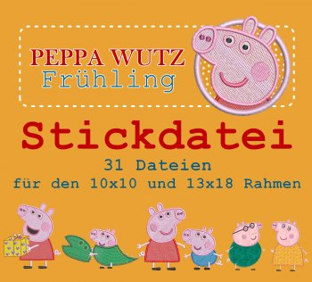 "Stickdatei Großes Set ""Peppa Wutz Frühling"""