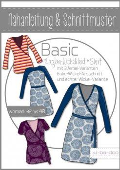 Damen Basic Raglan-Wickelkleid/-Shirt