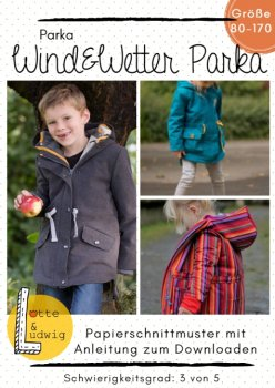 Papierschnittmuster WIND & WETTER-PARKA KINDER by Lotte & Ludwig