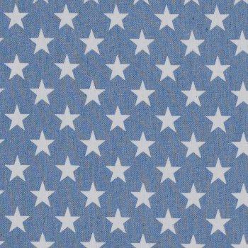Jeanspopeline Sterne auf Hellblau