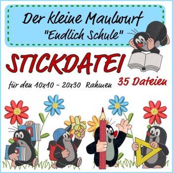 """Stickdatei Großes Set """"Der kleine Maulwurf - Endlich Schule"""""""