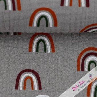 Musselin Jeron Rainbow Grau