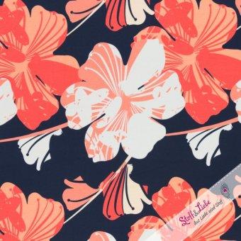 Jersey - Henry - Blüten Groß - Dunkelblau