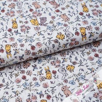 Baumwoll Batist - Häschen auf Blumenwiese