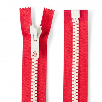 "Reißverschluss Bicolor 40cm ""teilbar"" Rot/Weiß"