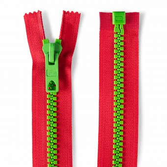 "Reißverschluss Bicolor 60cm ""teilbar"" Rot/Grün"