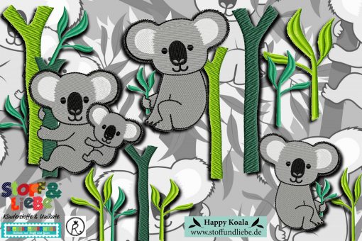 "Stickdatei Kleines Set ""Happy Koalas"""