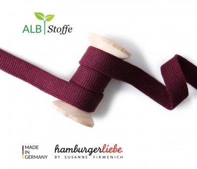 Bio-Flachkordel Bordeaux von Hamburger Liebe by Albstoffe