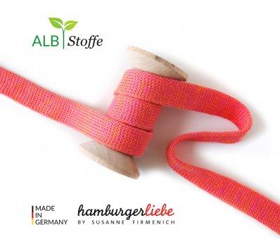 Bio-Flachkordel Orange-Pink meliert von Hamburger Liebe by Albstoffe