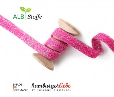 Bio-Flachkordel GLOW Pink/Silber von Hamburger Liebe by Albstoffe