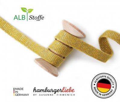 Bio-Flachkordel GLOW Senf/Silber von Hamburger Liebe by Albstoffe