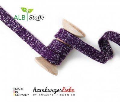 Bio-Flachkordel GLOW Aubergine/Silber von Hamburger Liebe by Albstoffe
