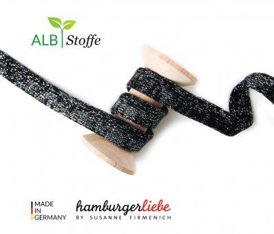 Bio-Flachkordel GLOW Schwarz/Silber von Hamburger Liebe by Albstoffe