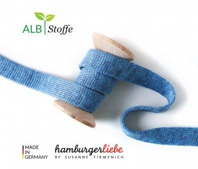 Bio-Flachkordel Jeans meliert von Hamburger Liebe by Albstoffe
