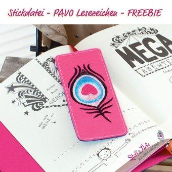 Lesezeichen PAVO - Stickdatei - Freebie
