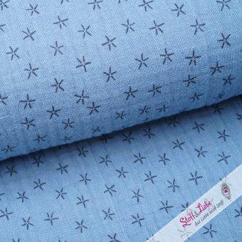 Musselin Triple Gauze Sterne in Blau