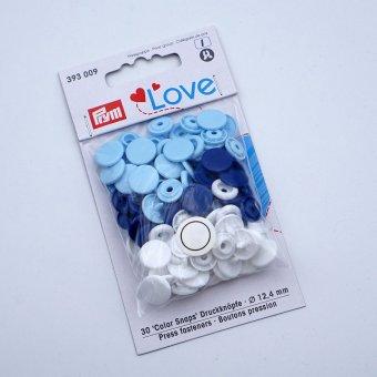 """Prym Snap- Set  Ø12mm  """"weiß-blau-hellblau"""""""
