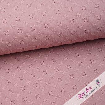 Webware mit Blumen Lochstickerei Old Pink