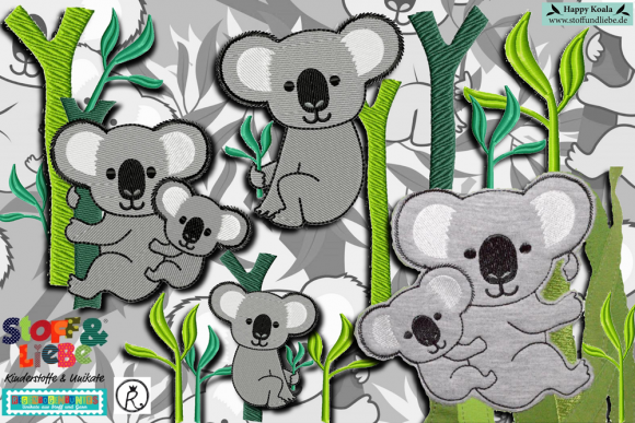 "Stickdatei Grosses Set ""Happy Koalas"""